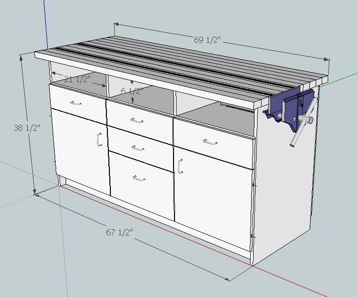 Planning the Makeover #1: SketchUp Plans – Workbench #1