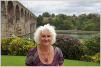 Karen in her garden in Berwick upon Tweed