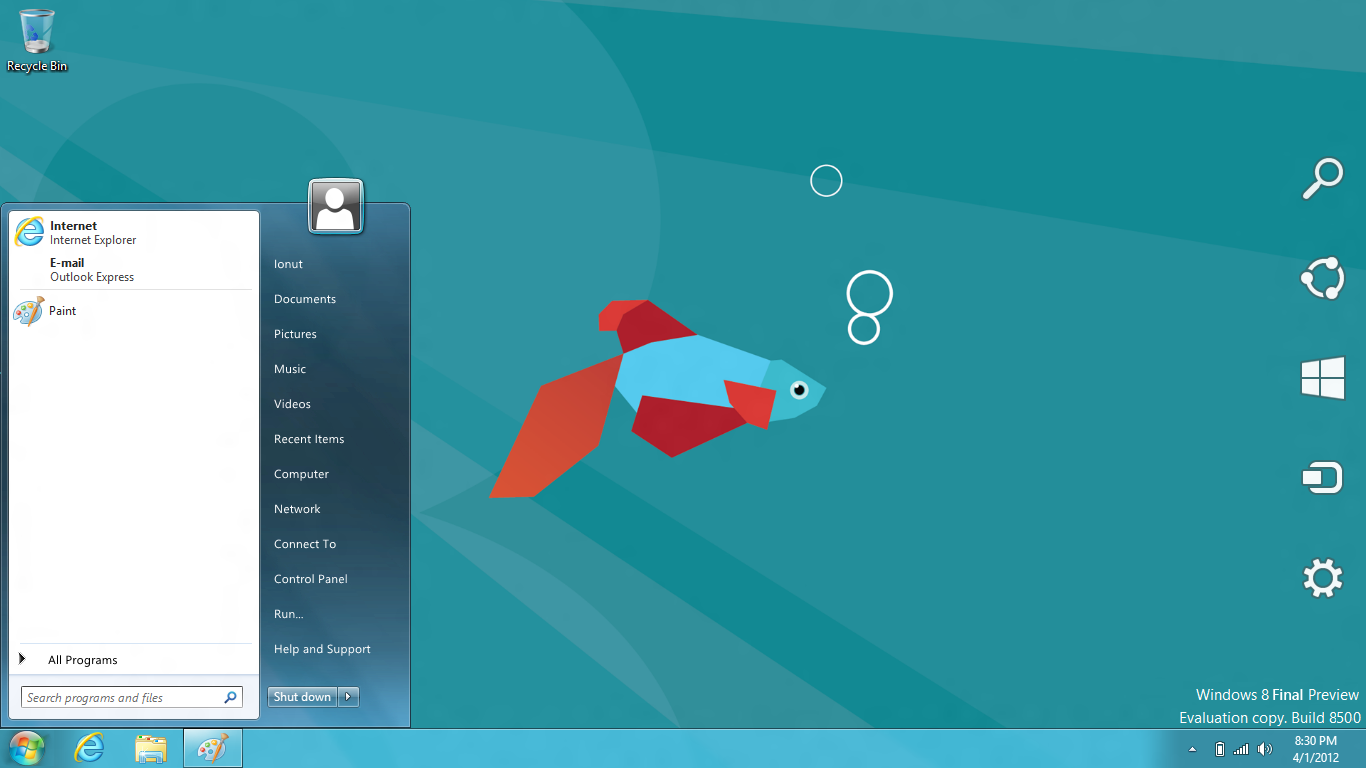 Windows 8 Final Start Menu