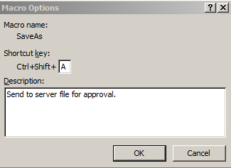 Assign shortcut keys to macro