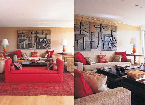 Decoracion Living Rojo ~ Entre los sof?s tapizados en g?neros de color neutro y rojo dos