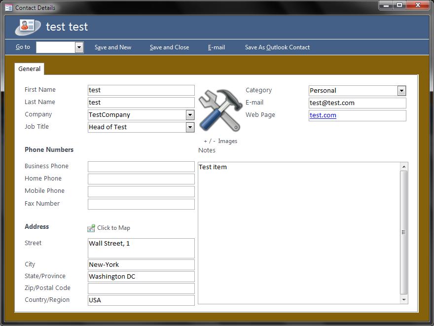 Saveasoutlookcontact Problem – Contact Details Template