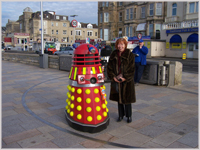 Glynis at Weston-super-Mare Pier with Dalek