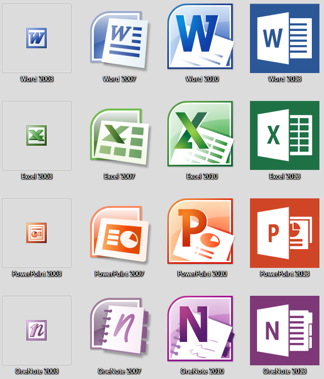 Microsoft Office 2003-2013 icons