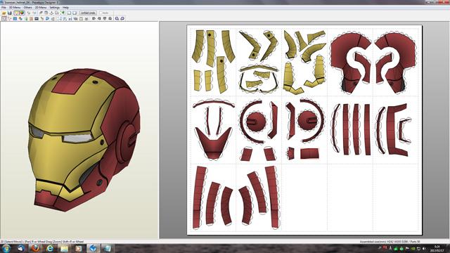 Creación del casco de ironman con cartulina y carton