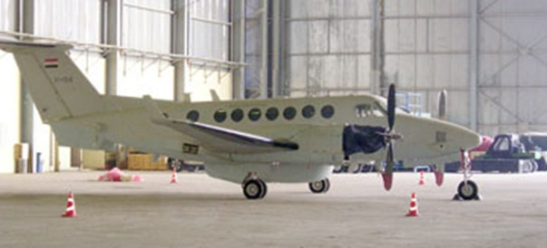In the hangar at NAMAB, I managed to capture this image of one of the brand new IqAF 87 Squadron Hawker Beechcraft King Air 350ER Intelligence, Surveillance and Reconnaissance aircraft.