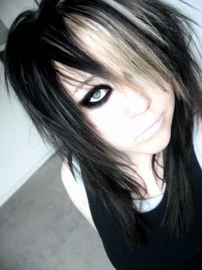 long black hair emo. Blonde And Black Hair Emo