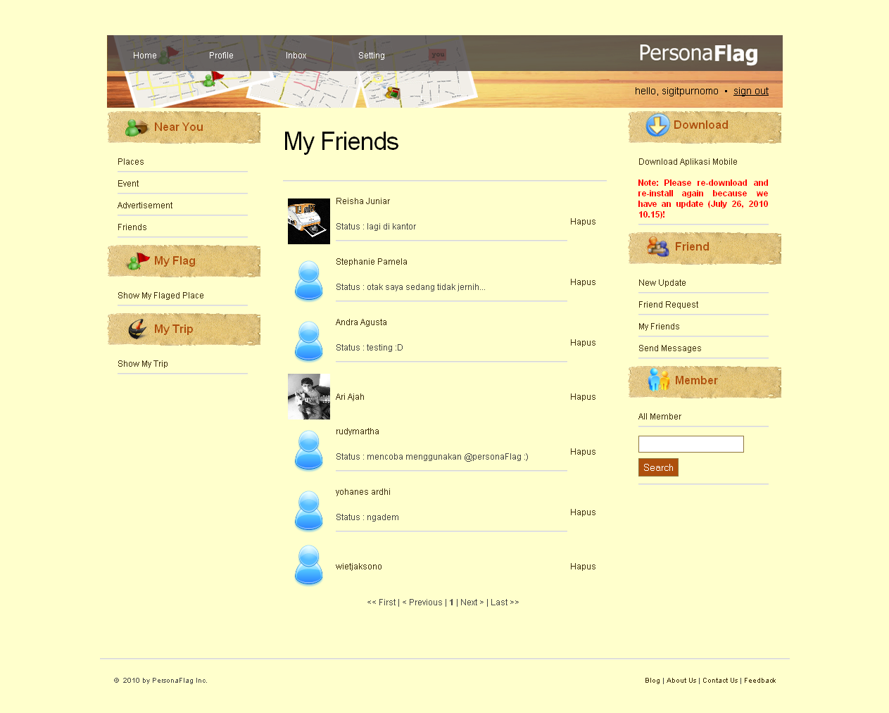 Web App - Show Friend List