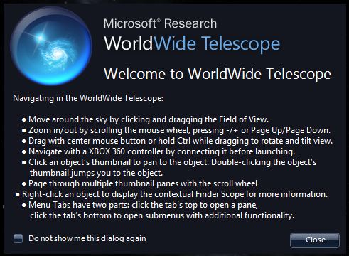 Microsoft World Wide Telescope Start