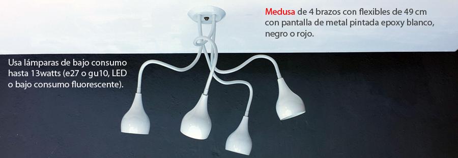 Medusa Araña Moderna Retro Blanco 4 brazos