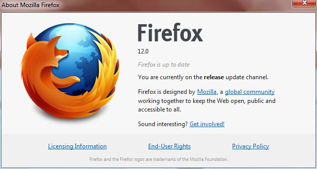 Firefox 12 - About