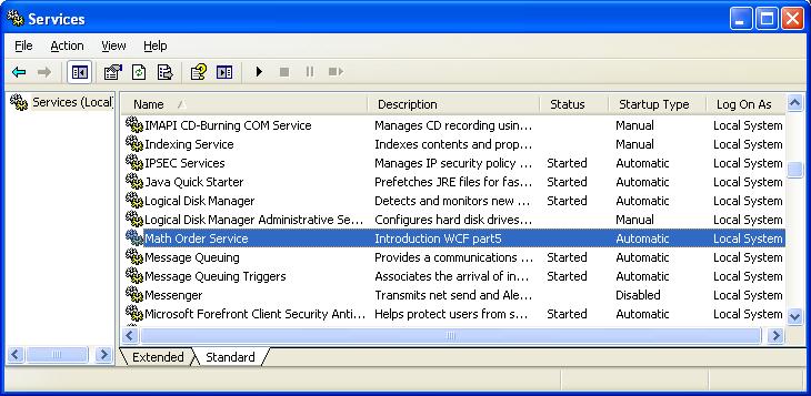 Xem windows service của bạn sau khi đã install vào hệ thống