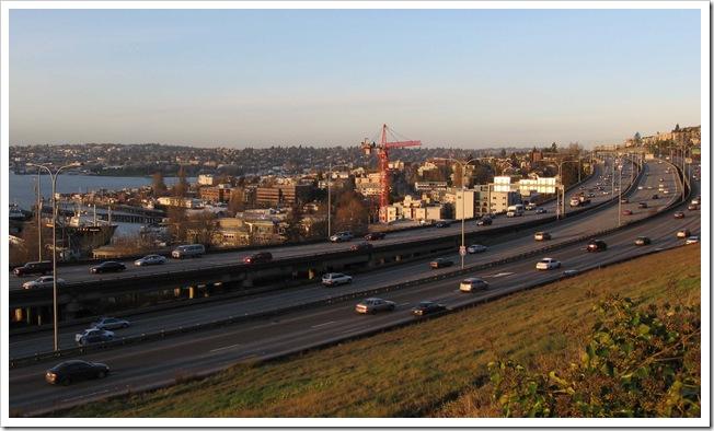 Seattle und I5 Freeway im Januar