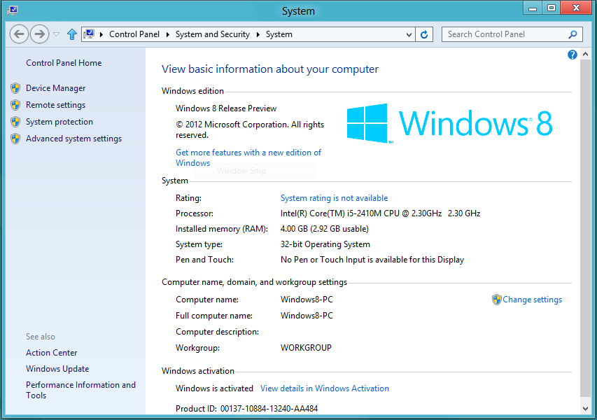 Windows 8 PC INfo