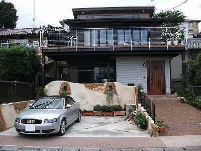 アフター 鉄骨ベランダ ワイヤー手摺 SUS手摺 外壁塗装 電動オーニング 住宅