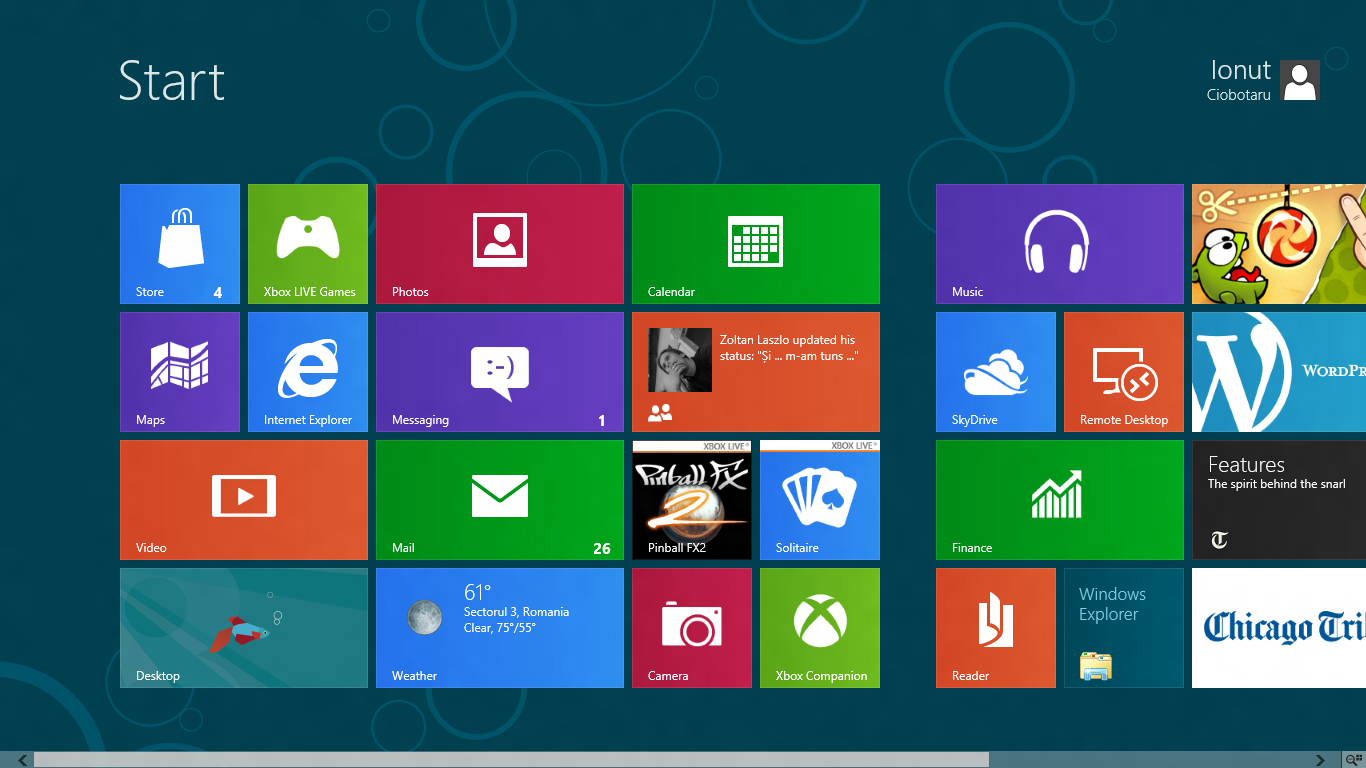 Windows 8 CP Start Screen