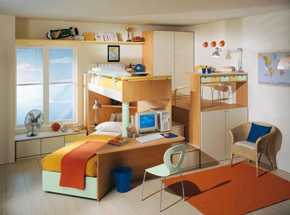 dormitorio, infantil, diseño, arquitectura, decoracion, camas