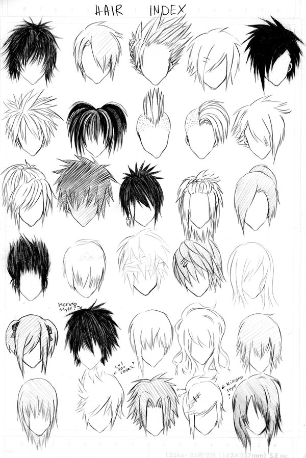 girl anime hairstyles colouring pages (page 2)