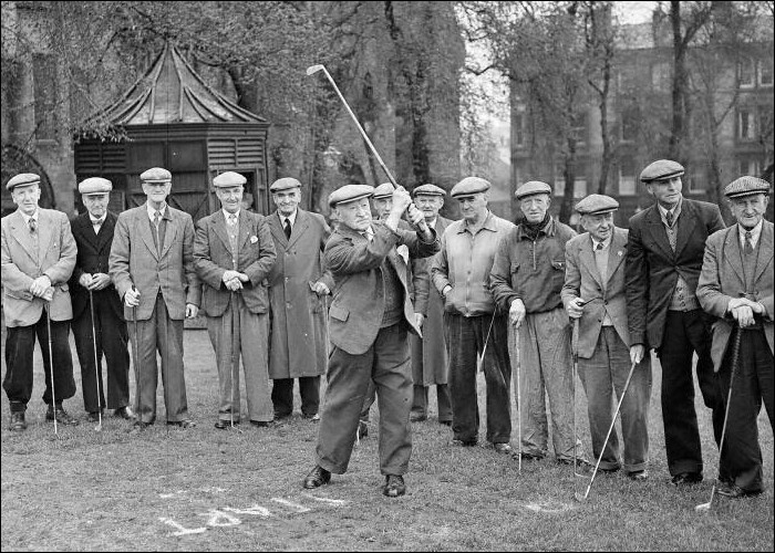 Bruntsfield Short Hole Golf Club Veterans Match - R Fatheringham Drives Off 1954 © The Scotsman Publications Ltd.