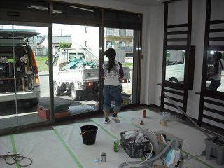 店舗内装 美容院 デザイン ローコスト 伊豆市 静岡県 リフォーム ガラスクリーニング
