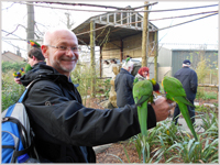 Trevor at Longleat with Parakeets