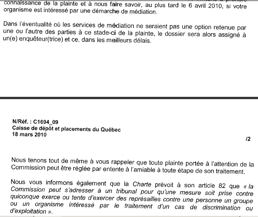 A cross-cut of the Human Rights Commission telling Sabia that it will investigate.