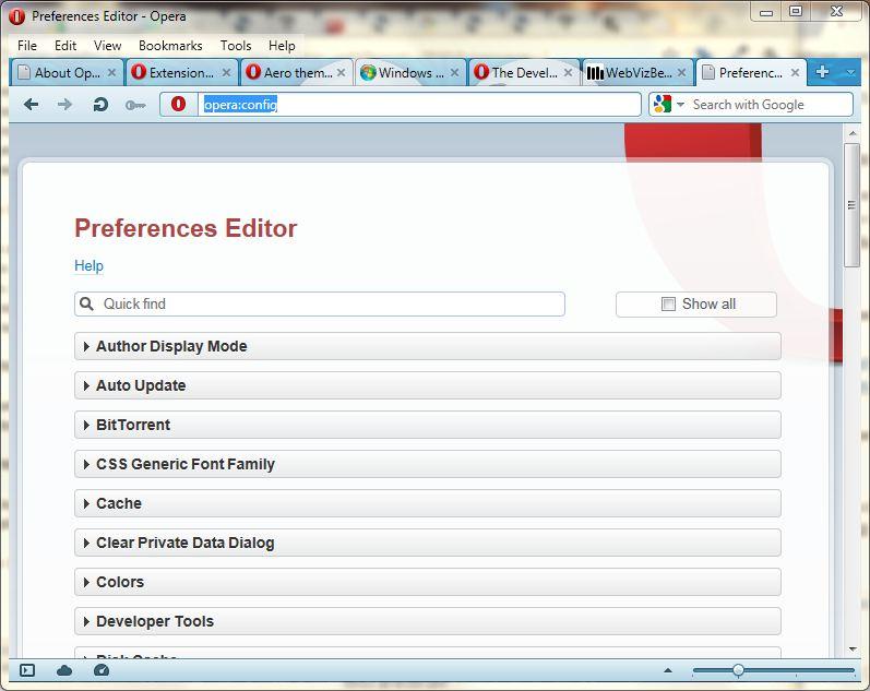 Opera 12 Preferences