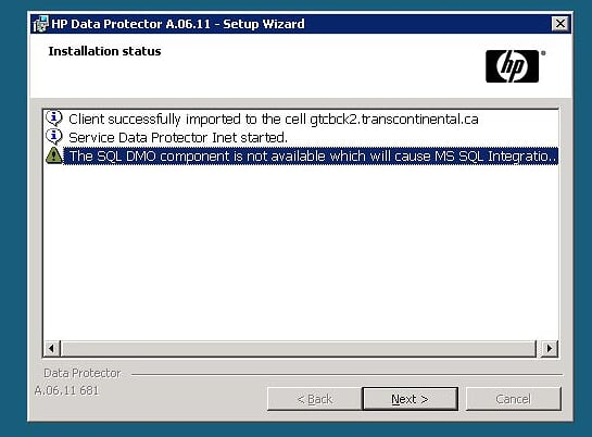 SQL-DMO warning during Data Protector Install