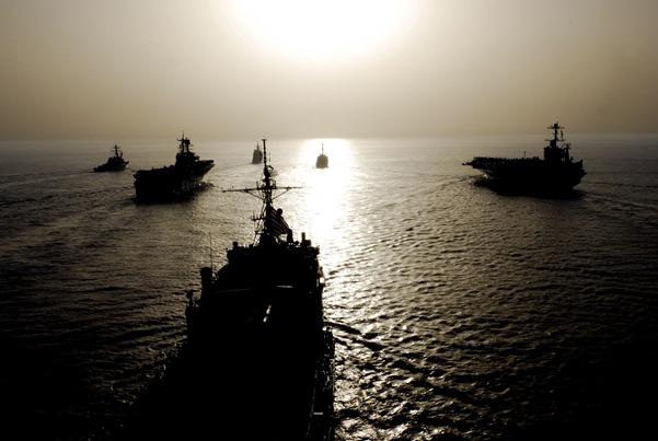 From left, USS Higgins (DDG 76), USS Bonhomme Richard (LHD 6), USS Antietam (CG 54), USS Denver (LPD 9), USS O'Kane (DDG 77) and USS John C. Stennis (CVN 74) steam through the Gulf of Oman May 22, 2007.  The ships are part of three different strike groups, the John C. Stennis Carrier Strike Group, Nimitz Carrier Strike Group and the Bonhomme Richard Expeditionary Strike Group, that are on regularly scheduled deployments in support of maritime security operations. DoD photo by Mass Communication Specialist 1st Class Denny Cantrell, U.S. Navy. (Released)