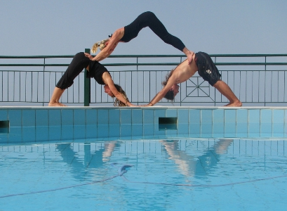 Acro Yoga Pool Pyramid at Yoga Retreat