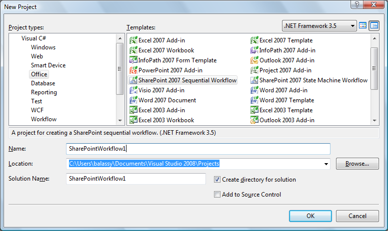 SharePointos projekt típusok Visual Studio 2008-ban