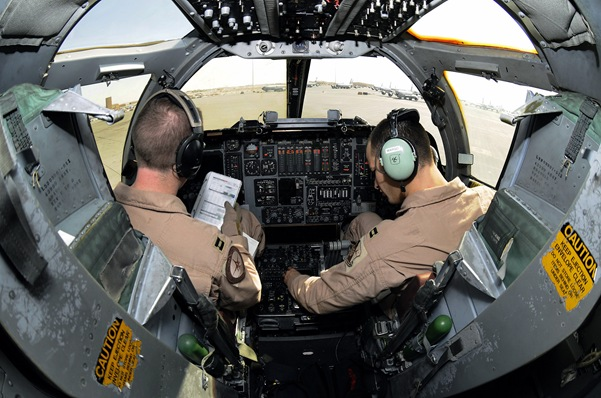 B-1B aircrews bring unique capabilities to the fight. Capt. Chad Hillen and Capt. Aaron Wargo work their way through preflight checklists from the cockpit of a B-1B Lancer Dec. 9 at an air base in Southwest Asia. Captain Hillen is a B-1B pilot and native of Sewell, N.J. Captain Wargo hails from Garden Grove, Calif. They are both pilots assigned to the 379th Expeditionary Bomb Squadron deployed from Ellsworth Air Force Base, S.D. (U.S. Air Force photo released).