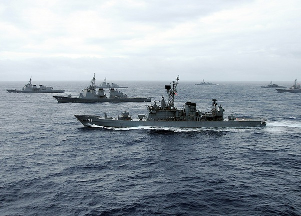 U.S. Navy and Japan Maritime Self-Defense Force ships transit in formation during Annual Exercise. Ships from the U.S. Navy and Japan are participating in the bilateral exercise designed to enhance the capabilities of both naval forces.