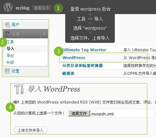 导入数据到WordPress