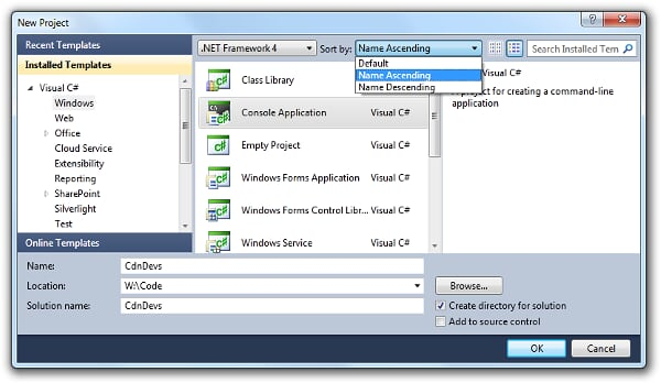 New Project window in Visual Studio 2010