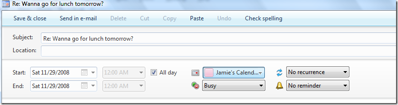 windows live calendar entry