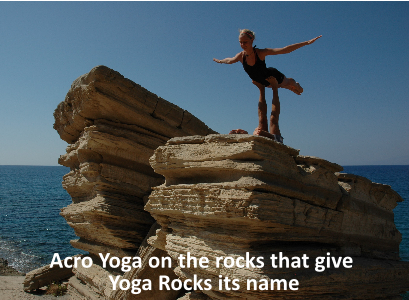 Acro Yoga on the rocks that give Yoga Rocks its name