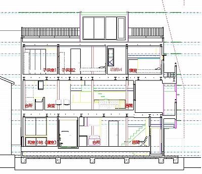 東西断面図 東西断面図 microstation BIM設計 東京都江戸川区 二世帯住宅 a72
