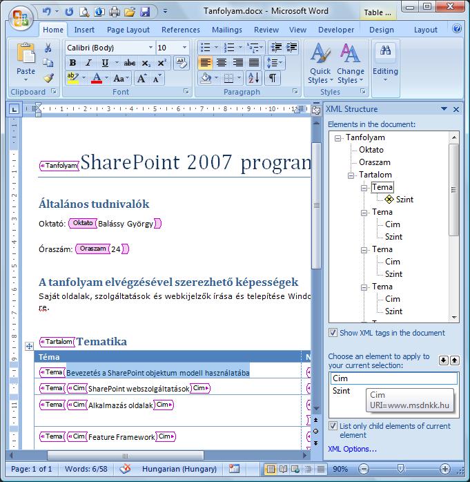 XML séma alkalmazása
