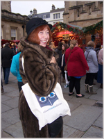 Glynis at the Bath Christmas market - sporting a Silver Travel Bag!