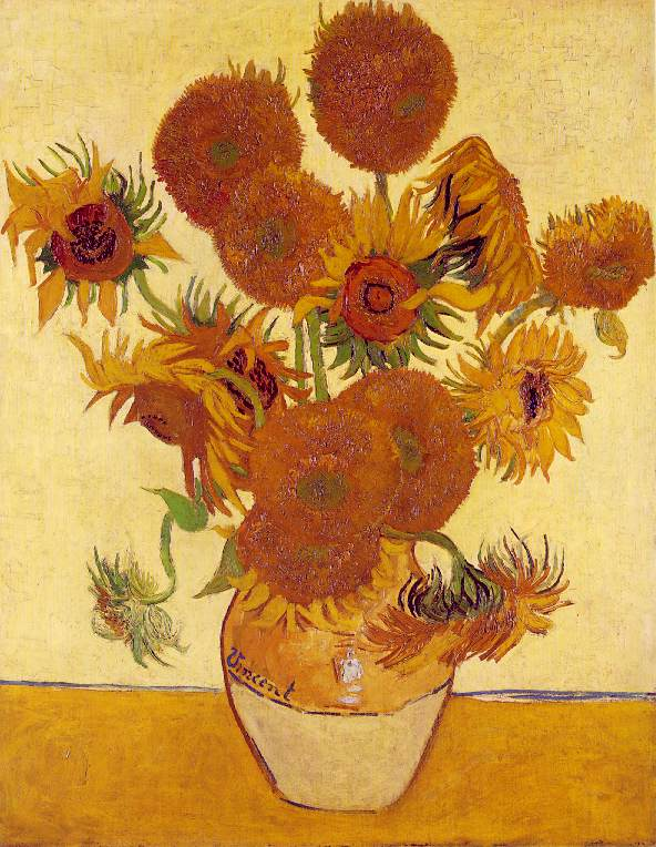 Girasoles fourteen sunflowers in a vase vincent van gogh