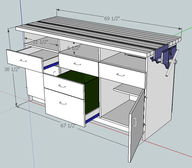 Planning the Makeover #1: SketchUp Plans - Workbench #1
