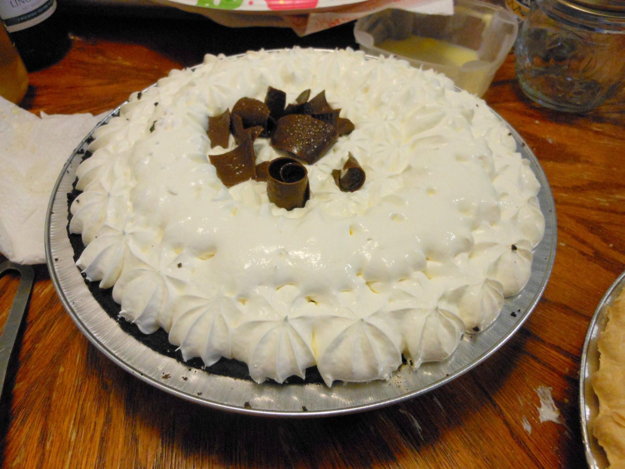 we had 2 marie calendar pies for dessert a lovely chocolate cream pie