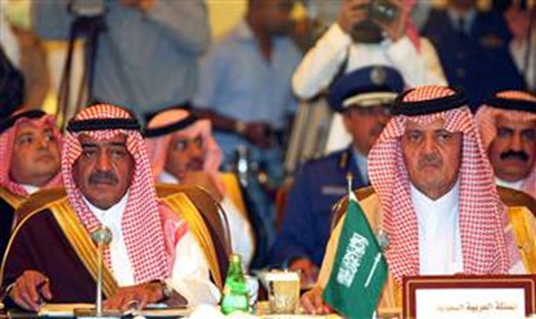 Saudi Foreign Minister Saud al-Faisal (R) and Saudi intelligence chief Prince Muqrin bin Abdul Aziz al-Saud attend the GCC foreign and defence ministers' meeting in Riyadh.
