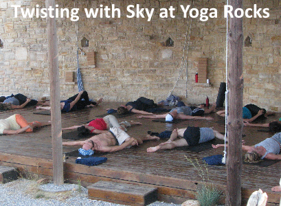 Twisting with Sky at Yoga Rocks